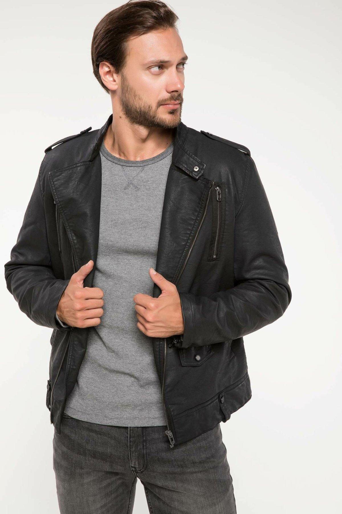 DeFacto Man Fashion Lapel PU Short Jackets For Men's Casual Leather Coats Male Windproof Overcoats Autumn - I7950AZ18AU