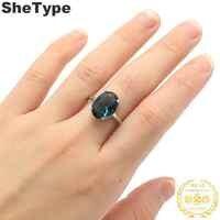 14x10mm 2019 Europäischen Stil 3,5g Erstellt Dark London Blau Topas Geschenk Für Damen 925 Solide Sterling silber Ringe