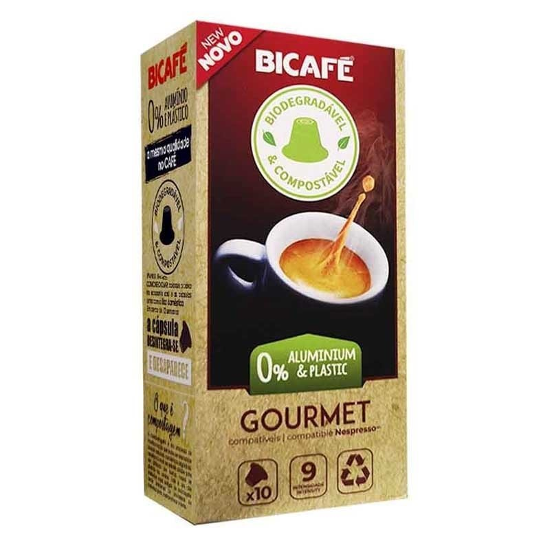 Coffee Gourmet Bicafé Biodegradable 10 capsules compatible with Nespresso