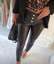 2020 Women Button Up Faux Leather Pants Elegant Fashion Solid Casual Long PU Leather Pants Skinny Buttoned OL Workwear button front pu pants