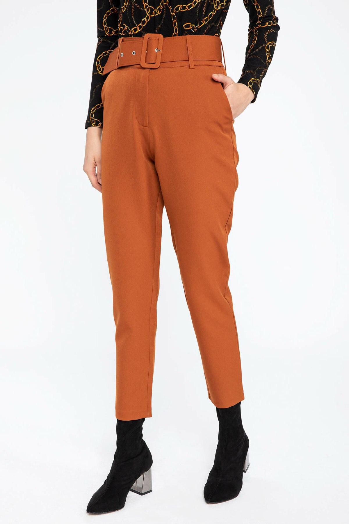 DeFacto Woman Fashion Belt Decors Orange Long Pants Trousers Women Casual Bold Color Bottoms Chic  -K6607AZ18CW