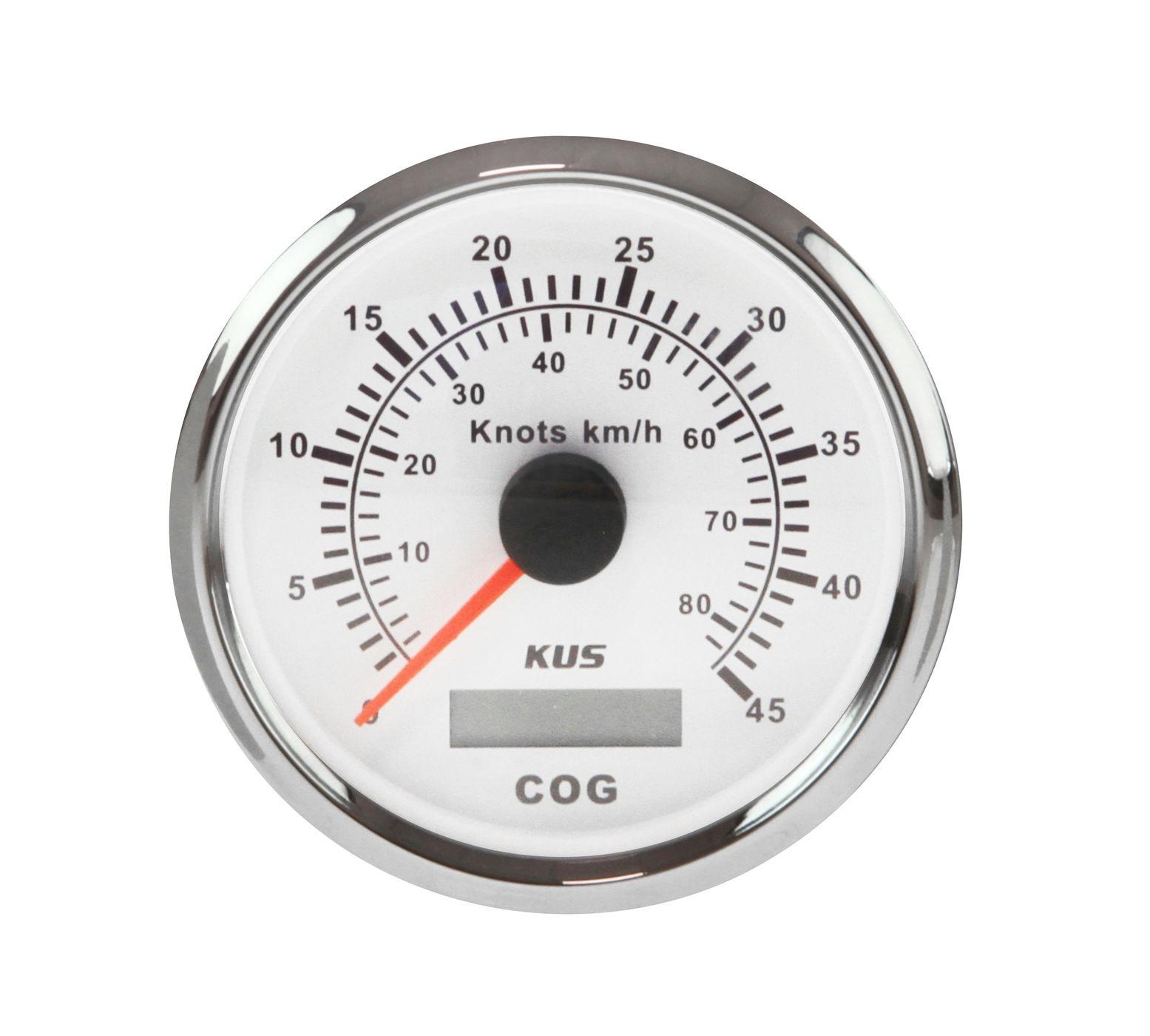 Compteur de vitesse analogique 0-45 noeuds, cadran blanc lunette en acier inoxydable, antenne à distance, etc. 85mm KY08126