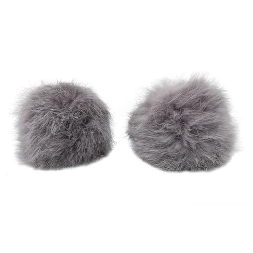 Pompon Made Of Natural Fur (rabbit), D-8cm, 2 Pcs/pack (I Gray)