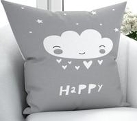 Else Gray White Happy Clouds Scandinavian 3D Print Microfiber Throw Pillow Case Cushion Covers  Square Hidden Zipper 45x45cm