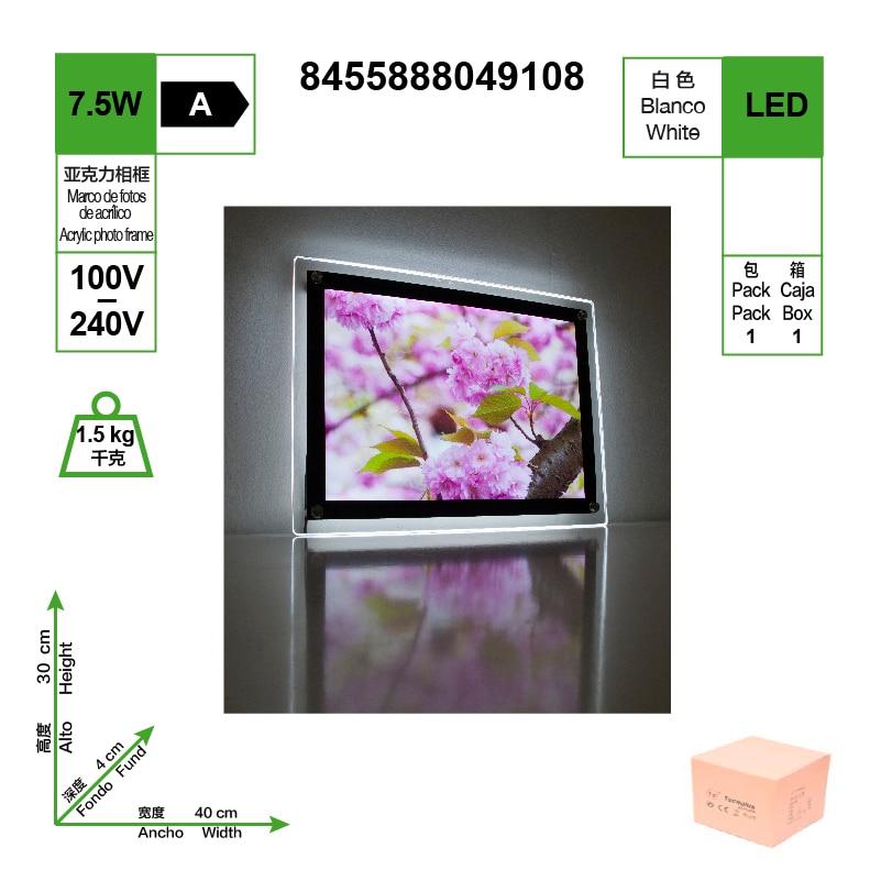 Marco Acrílico LED, HD Blanco, Tamaño 400 * 300, 7W 6400K
