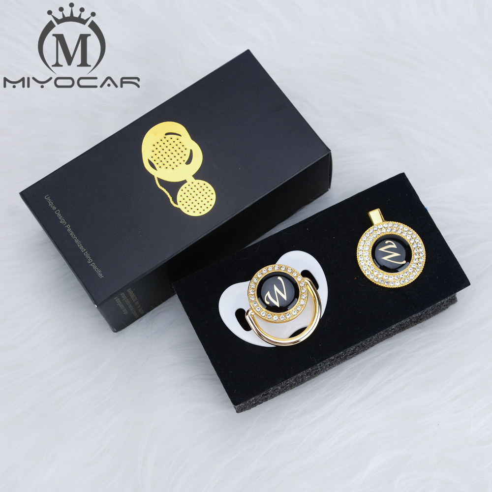 MIYOCAR name Initial letter W elegant silver bling pacifier and pacifier clip BPA free dummy bling unique design SGS pass LW in Pacifier from Mother Kids