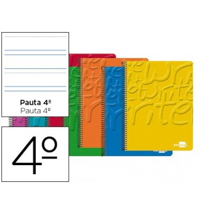 SPIRAL NOTEBOOK LIDERPAPEL QUARTER WRITE SOFTCOVER 80H 60 GR-STRIPED PATTERN 3,5MM WITH MARGIN COLORS ASSORTED 10 Units