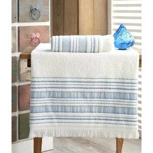 Turkish Fabric Fiesta Bath Towel Set 70x140 cm and 50x90 cm Blue 2021 Towel Set