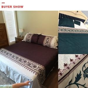Image 5 - بسيطة فاخرة الملك الحجم الفراش مجموعات الأزهار الجاكار سرير مطبوع حاف الكتان مجموعة غطاء لحاف يغطي المفارش (لا غطاء سرير)