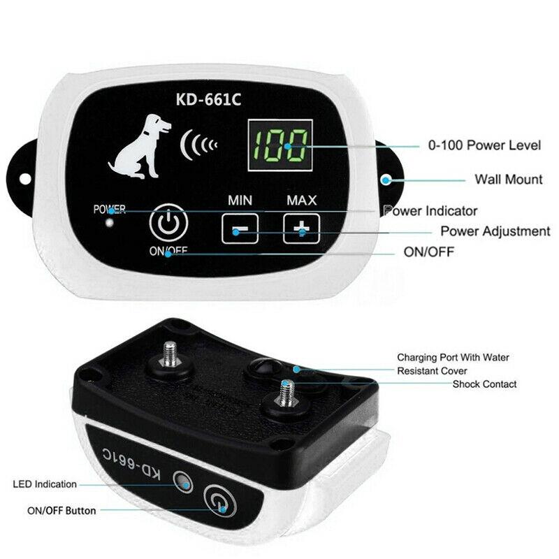 Электронный ошейник для собак для ограждения, система удержания, водостойкий забор с 1 ошейником 100g2280 - 3
