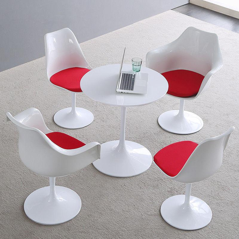 Saarinen круглый стол тюльпан белый диам 70 СМ Круглая глянцевая лакированная поверхность