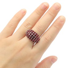24x14mm SheCrown 2020 Hot Sell Created Red Blood Ruby Pink Kunzite Gift For Sister Silver Rings