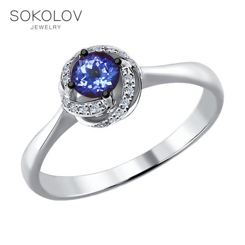 SOKOLOV Ring White Gold With Diamonds And Tanzanite Fashion Jewelry 585 Women's Male