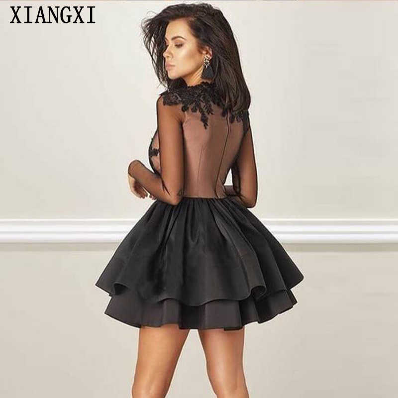Vestido de baile 2019 preto vestidos gola alta mangas completas rendas curto mini vestido de festa do baile formatura vestidos