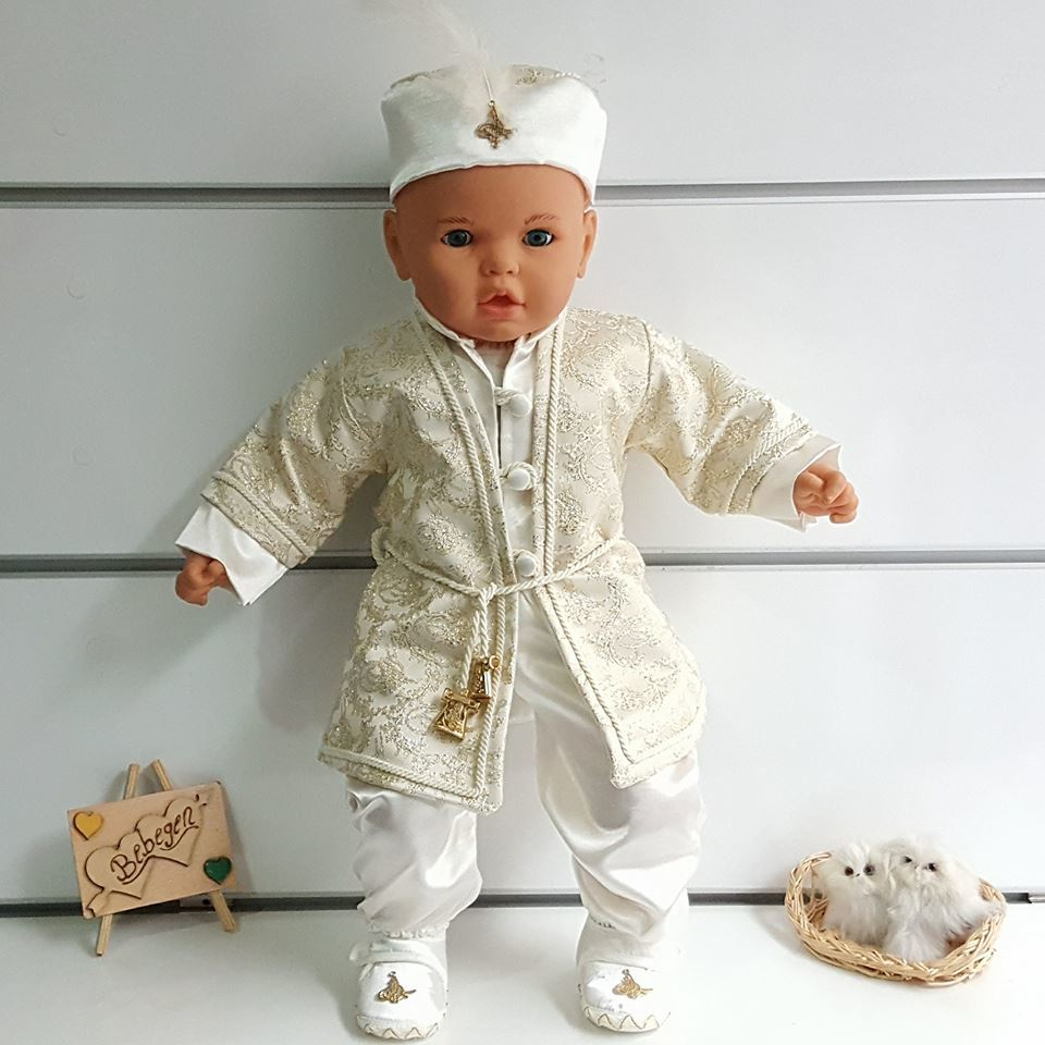 Tuğra Patterned Cream Articulated Drawstring Prince Male Baby Mevlüt Team