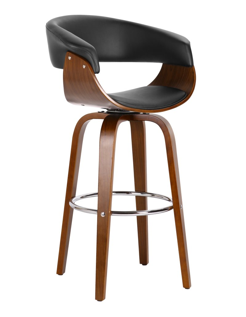 Stool MUNICH, 4 Legs, Rotatable, Walnut Wood, Similpiel Black