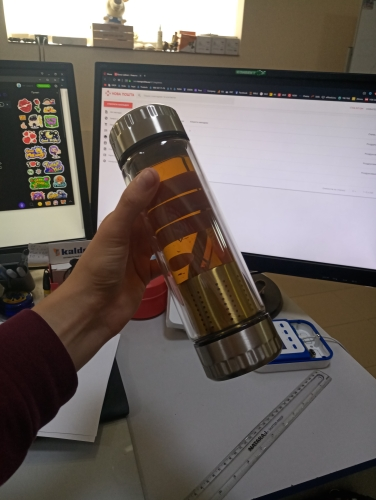 400ML Business Type Water Bottle Glass Bottle with Stainless Steel Tea Infuser Filter Double Wall Glass Sport Water Tumbler-in Water Bottles from Home & Garden on AliExpress