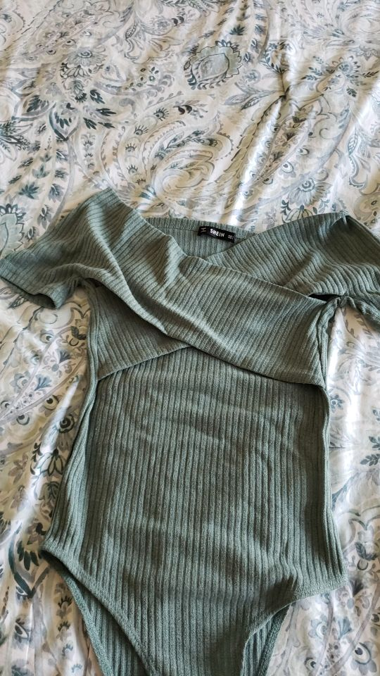Green Off The Shoulder Knitted Sexy Bodysuit Elegant Autumn Female Skinny Bodysuit Basic Black Women Bodysuits photo review