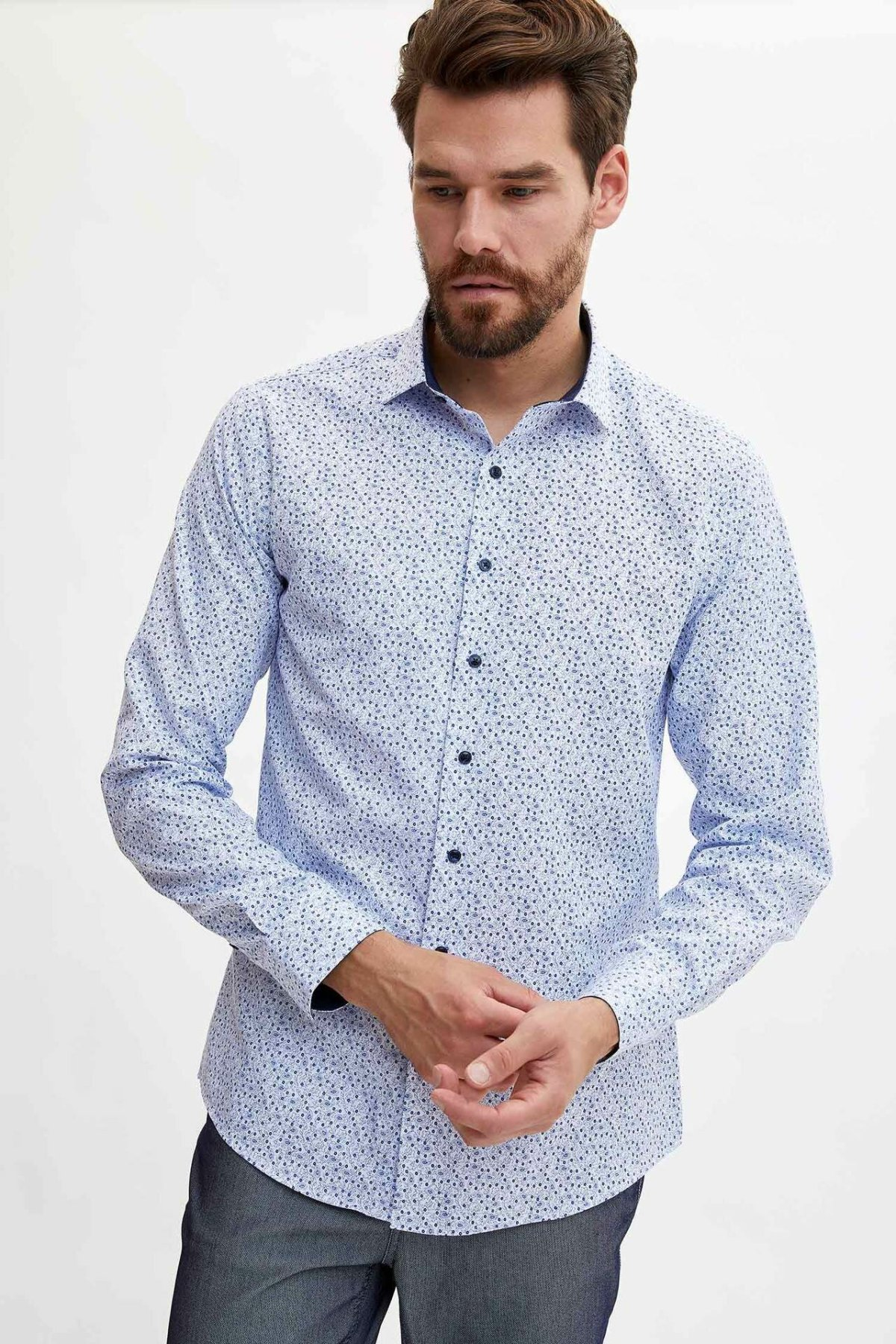 DeFacto Men Fashion Print Pattern Shirts Long Sleeve Shirts Mens Casual Lapel Collar Casual Shirt Tops New - L5901AZ19AU