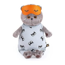 Soft toy Budi Basa Cat Basik in gray overalls and mask for sleep, 19 cm MTpromo