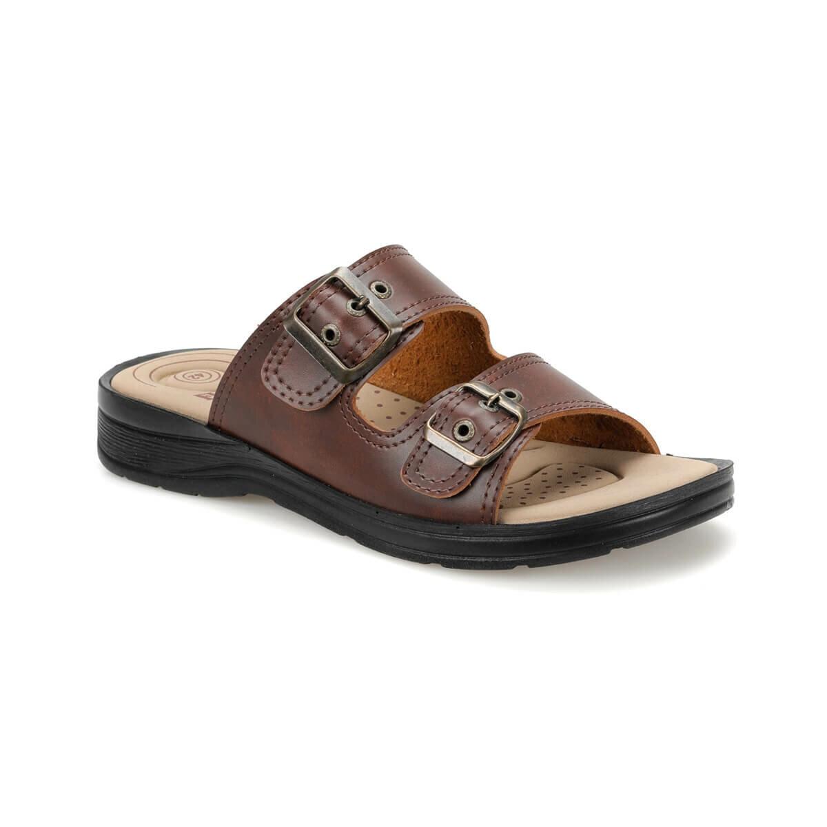 FLO BNK-03 Brown Mens Slippers Flexall
