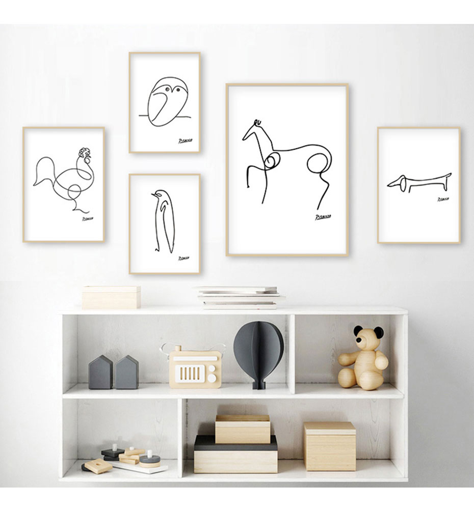 Abstract Line Art Animals Sketches Nursery Decor Canvas Painting Minimalist Black and White Wall Poster Print Picture Home Decor