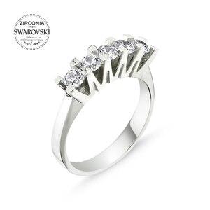 Серебряное 925 пробы кольцо с цирконием Swarovski