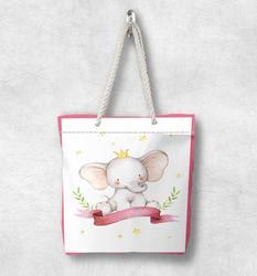 Else розовая кайма Милый Забавный слон скандинавский белая веревочная ручка Холщовая Сумка мультяшный принт на молнии сумка на плечо