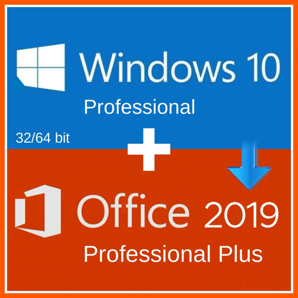 Finestre 10 Pro Professionale + Office 2019 Pro Plus 2019 CODICE di Attivazione CHIAVE Multilingue