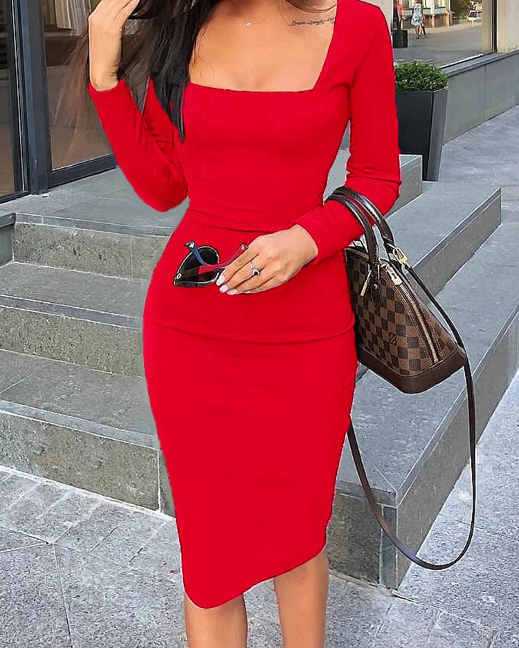 Bodycon Midi Dresses Cocktail-Party Cold-Shoulder Long-Sleeve Elegant Design Womens Square-Collar