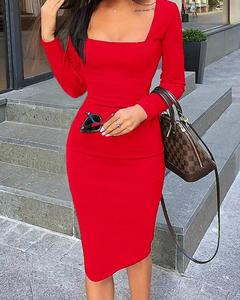 Womens Elegant Cold Shoulder Sexy Chic Red Cocktail Party Slim Fit Dresses Square Collar Long Sleeve Design Bodycon Midi Dress