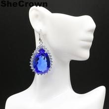 43x27mm Long Big Heavy 27.3g Created Violet Tanzanite Woman's Party European and American models Silver Earrings