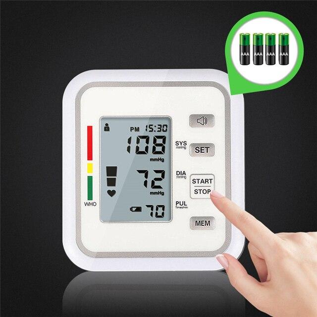 Portable Digital Upper Arm Blood Pressure Monitor Electric Heartbeat Tester Tonometer Health Care Sphygmomanometer Tensiometro