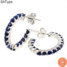 15x2mm Elegant 1.7g Moon Shape Tanzanite Gift For Sister SheType 925 Solid Sterling Silver Stud Earrings(China)