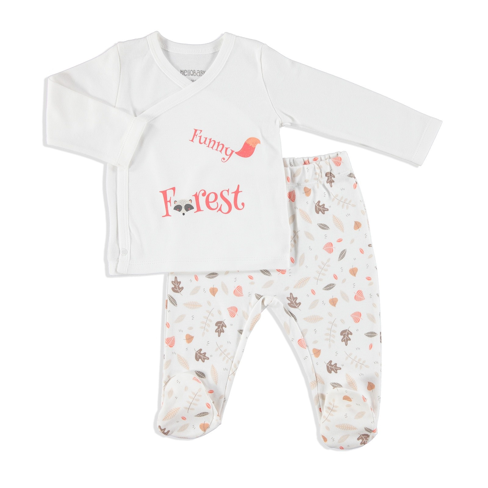Ebebek HelloBaby Fun Forest Baby Bodysuit Footed Trouser 2 Pcs