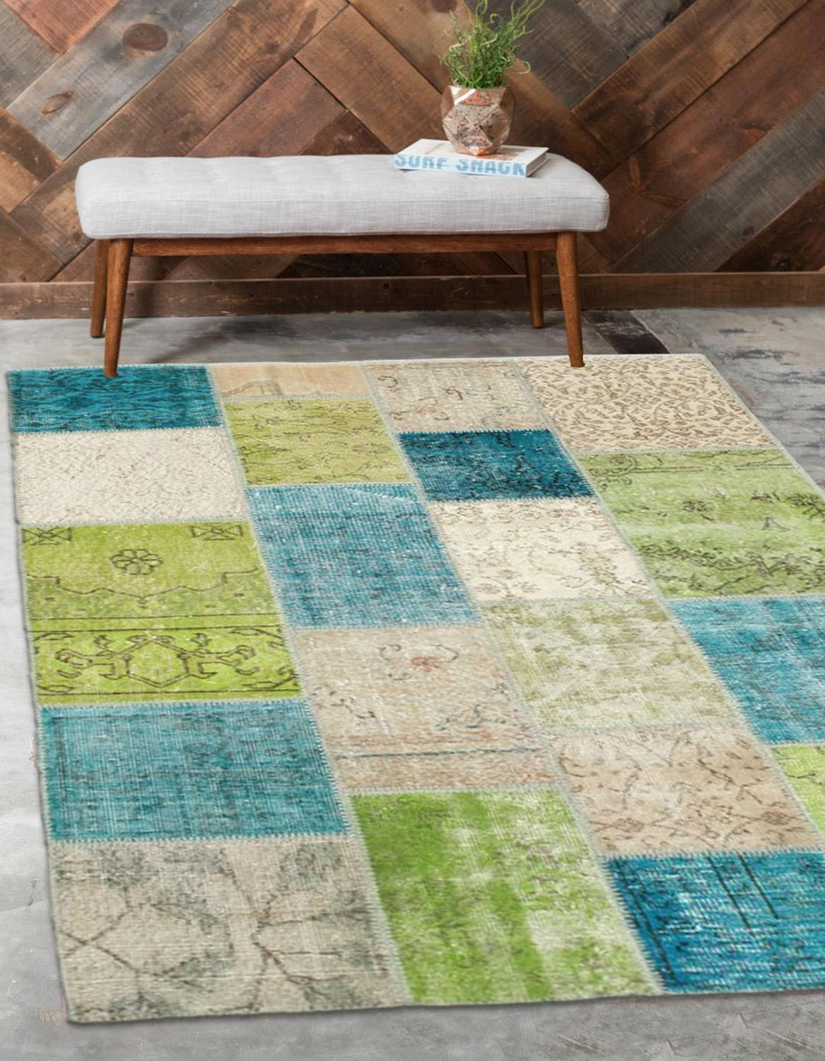 Else Green Blue Beige Anatolian Patchwork Rug Turkish Handmade Organic Area Rug Decorative Home Decor Wool Patchwork Rug Carpet