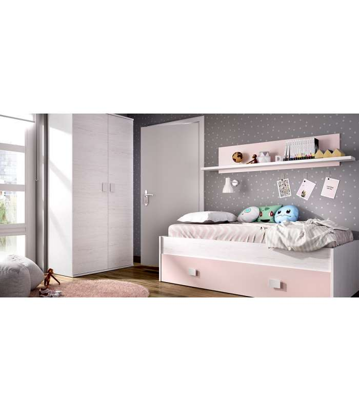 Bed Compact 2 Drawers And Shelf Artic/Pink