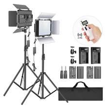 Neewer 2 pacote 2.4g conduziu a luz com suporte de 2m bi-color 600 smd cri 96 + led painel/barndoor/display lcd iluminação de vídeo para fotografia