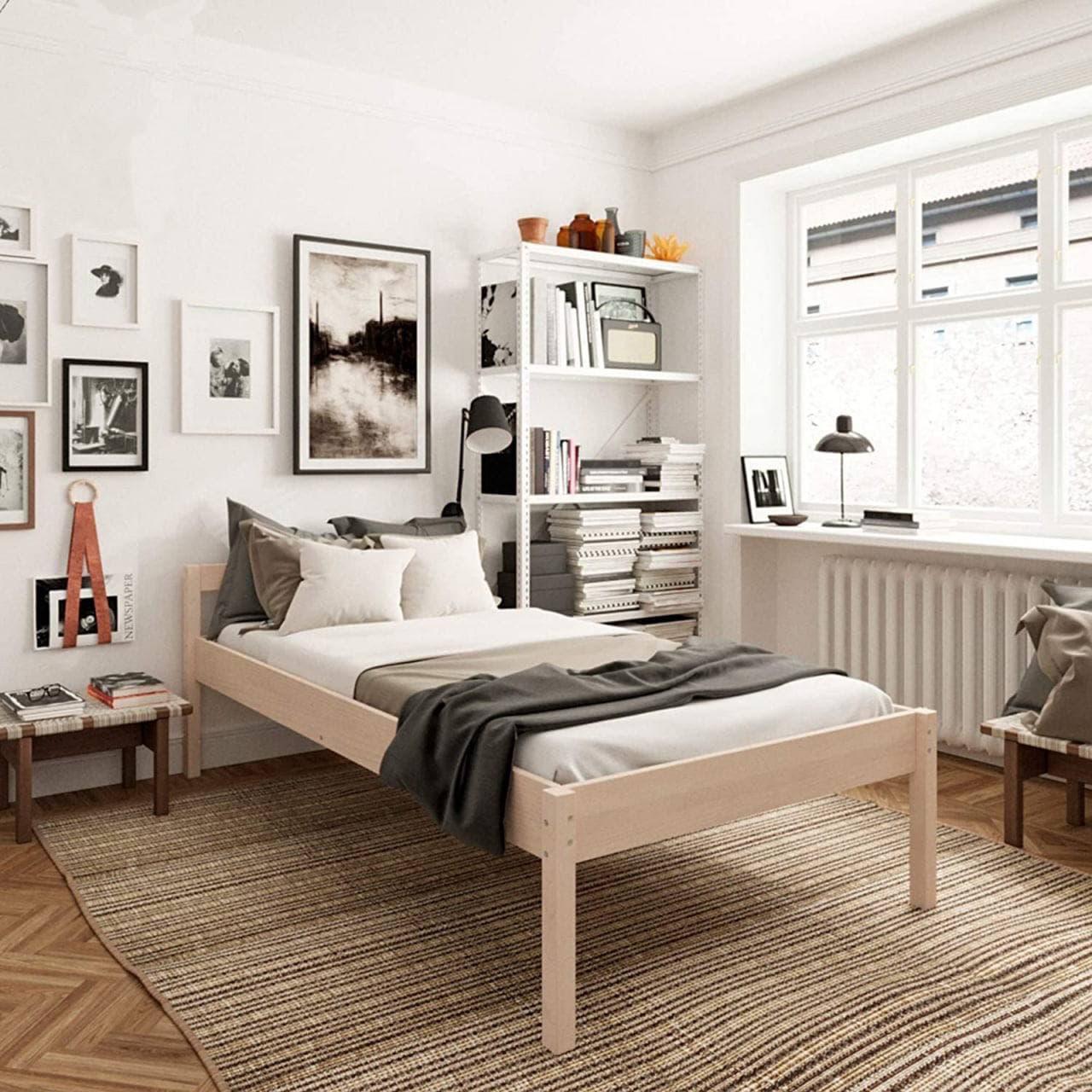 Высокая односпальная деревянная кровать Hansales 100x200 см для здорового и крепкого сна