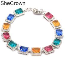 12x10mm Multi Color Rectangle Aquamarine Tanzanite Citrine Silver Bracelet 7-8.0inch