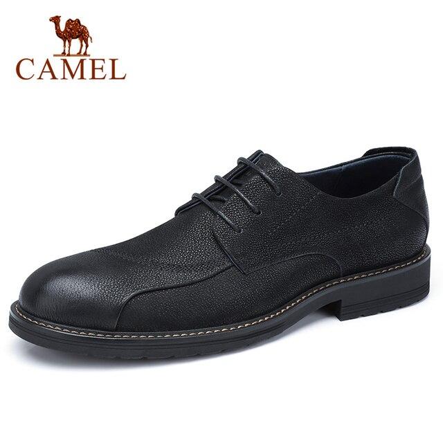 CAMEL Mens Shoes Comfortable Casual Shoes Men Genuine Leather Retro Fashion Business Soft Non slip Resistant Men Shoes