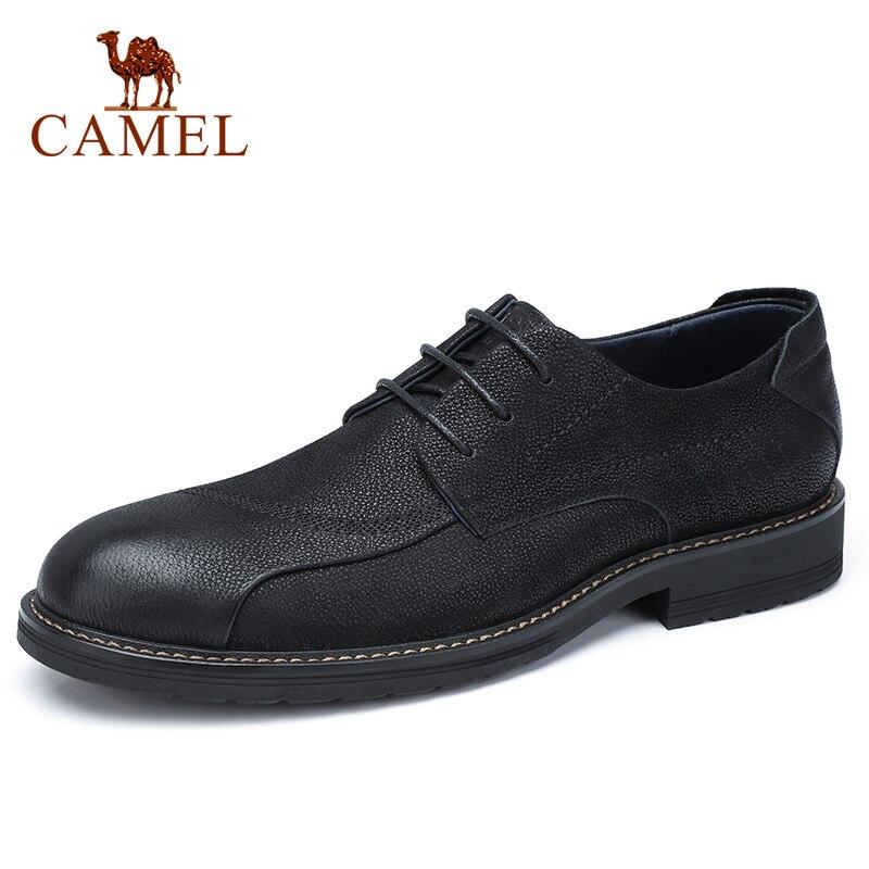 Zapatos de CAMEL para hombre cómodos zapatos casuales hombres cuero genuino Retro moda negocios suave antideslizante zapatos de hombre