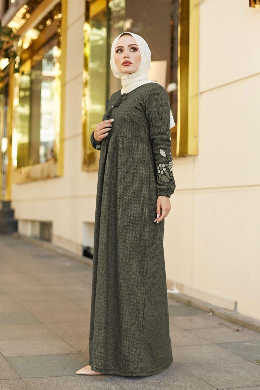 Herringbone Fisto Women s Dress Modest Caftan Islamic Clothing Muslim Fashion for winter Maxi Dresses Turkey