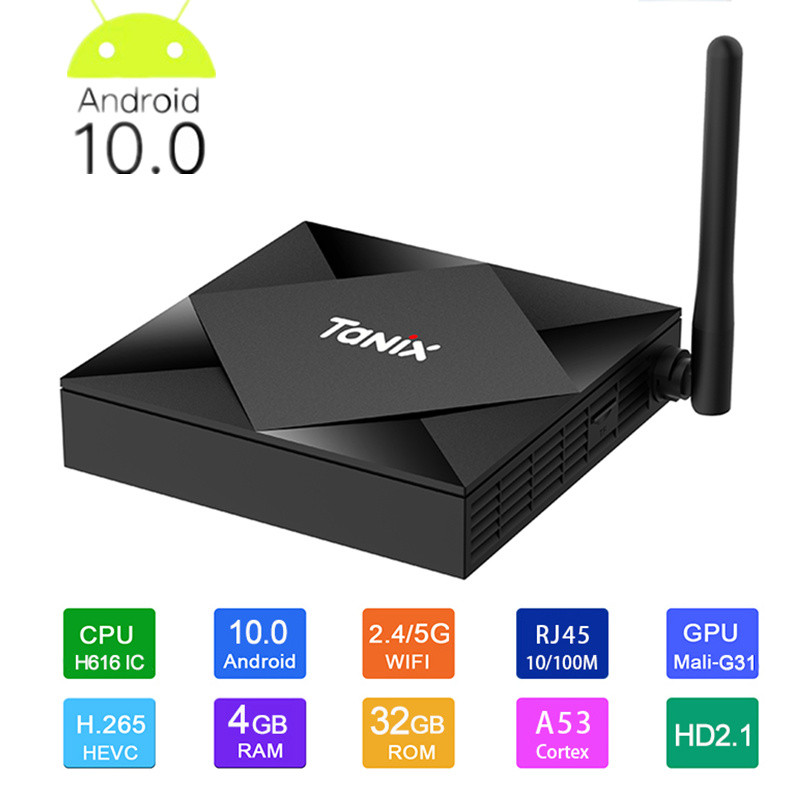 Tanix Tx6s Smart Tv Box z systemem Android 10 4g 64gb Allwinner H616 czterordzeniowy 8k 2.4g 5g Wifi BT4.0 youtube Netflix z systemem Android 10 TV Box