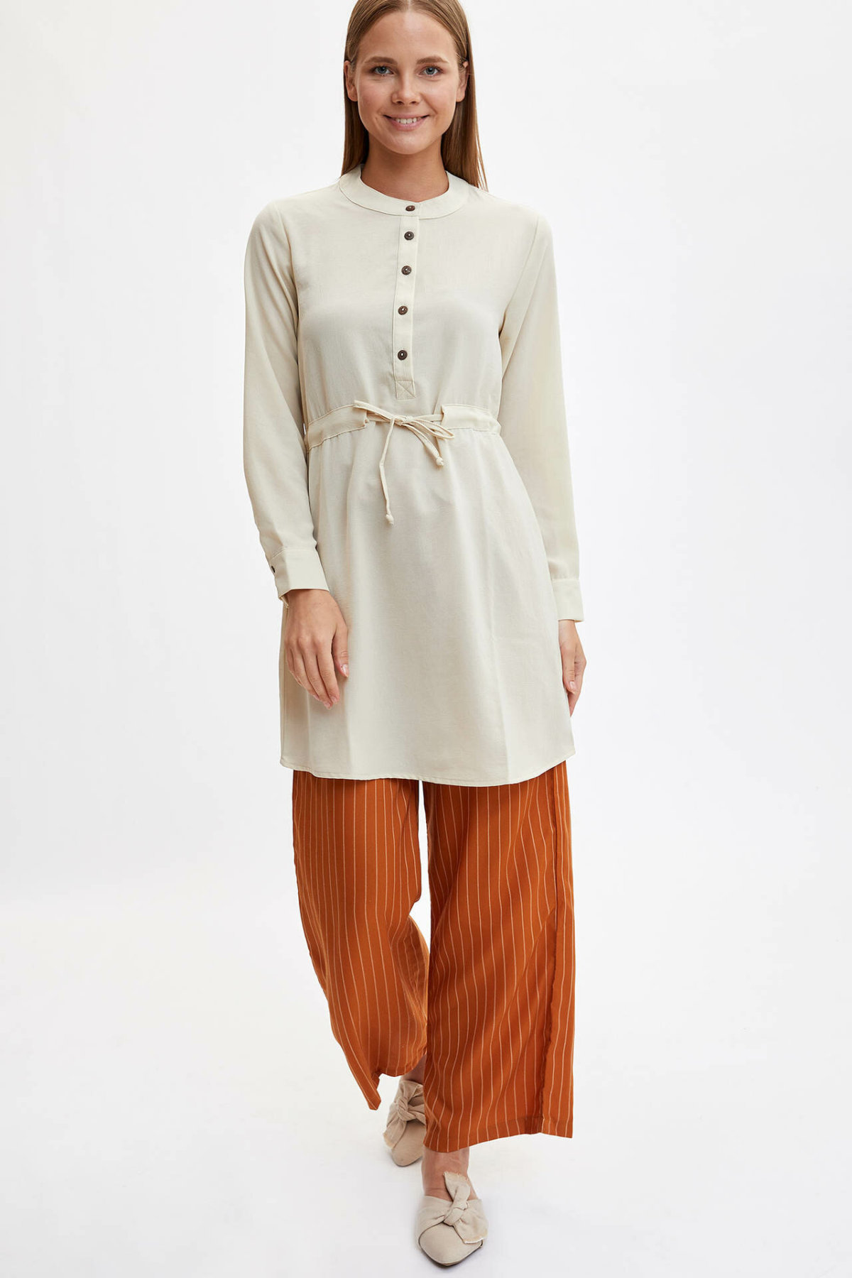 DeFacto Women Elegant Striped High Waist Wide Leg Pants Female Belt High Quality Loose Trousers Ladies Spring Autumn L7625AZ19HS