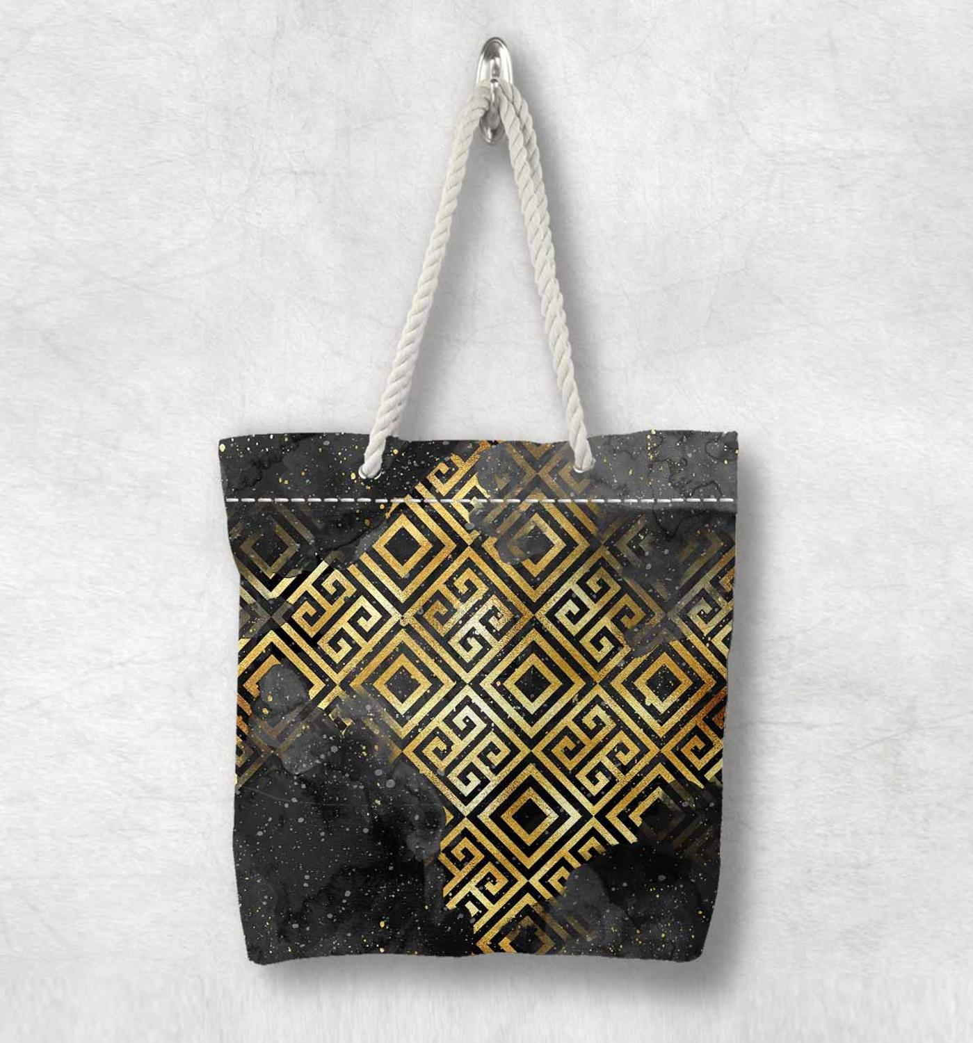 Else Black Golden Yellow Locked Geometric New Fashion White Rope Handle Canvas Bag Cotton Canvas Zippered Tote Bag Shoulder Bag