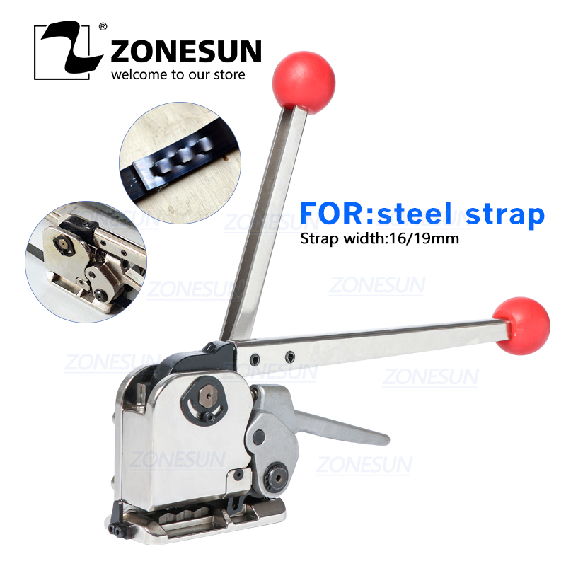 ZONESUN DB-GD35 16-19mm Manual Buckle Free Steel Belt Strapping Machine Strapping Tensioner Tool For Wood Steel Packing Machine
