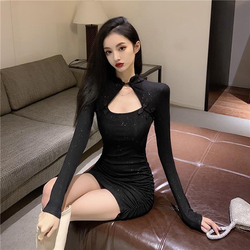 Retro little black dress 2021 new summer salt, sweet taste, design sense, little shoulders, dress girl 21x 4