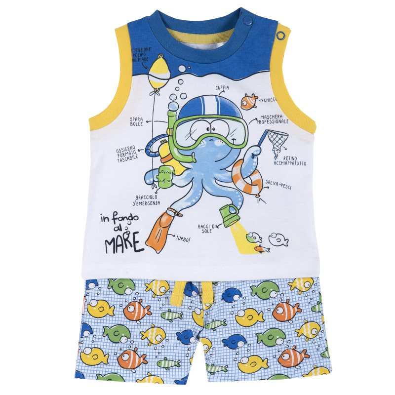 Фото - Set T shirt and shorts Chicco, size 080, color octopus (blue) shoes velcro genuine leather chicco size 200 color blue and red