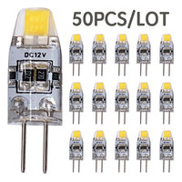 50PCS G4 LED Bulb 3W DC 12V COB LED G4 Lamp Replace 30W Halogen Lights Crystal Spotlight Chandelier Warm White Cool White